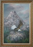 Bald Eagle in Smoky, Lofty Mountain Oil Painting Animal Naturalism Exquisite Gold Wood Frame 42 x 30 inches