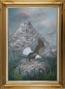 Bald Eagle in Smoky, Lofty Mountain Oil Painting Animal Naturalism Gold Wood Frame with Deco Corners 43 x 31 inches