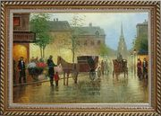 Horse Carriages And Peoples On Street at Dusk Oil Painting Cityscape Impressionism Exquisite Gold Wood Frame 30 x 42 inches