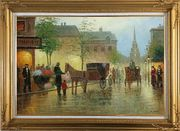 Horse Carriages And Peoples On Street at Dusk Oil Painting Cityscape Impressionism Gold Wood Frame with Deco Corners 31 x 43 inches