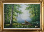 Bear Mother and Child Wandering in Deep Forest Oil Painting Animal Classic Gold Wood Frame with Deco Corners 31 x 43 inches