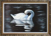 Beautiful White Swan Sleeps On The Dark Water Oil Painting Animal Naturalism Ornate Antique Dark Gold Wood Frame 30 x 42 inches