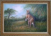 Mother Kangaroo and Two Kids Oil Painting Animal Naturalism Exquisite Gold Wood Frame 30 x 42 inches