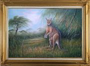 Mother Kangaroo and Two Kids Oil Painting Animal Naturalism Gold Wood Frame with Deco Corners 31 x 43 inches