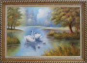 Swan Family in Tranquil Pond Oil Painting Animal Naturalism Exquisite Gold Wood Frame 30 x 42 inches