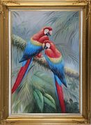 Two Lovely Parrots Singing On a Old Tree Branch Oil Painting Animal Naturalism Gold Wood Frame with Deco Corners 43 x 31 inches