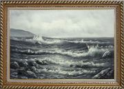 Black White Birds Flying Over Sea Waves Oil Painting Seascape Naturalism Exquisite Gold Wood Frame 30 x 42 inches