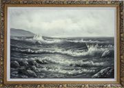 Black White Birds Flying Over Sea Waves Oil Painting Seascape Naturalism Ornate Antique Dark Gold Wood Frame 30 x 42 inches