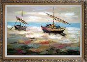 Two Small Boats Dock on Beach Oil Painting Impressionism Ornate Antique Dark Gold Wood Frame 30 x 42 inches