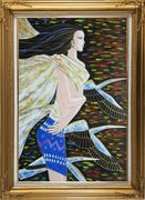 Younger Lady in Wind Oil Painting Portraits Woman Modern Gold Wood Frame with Deco Corners 43 x 31 inches