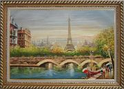 Paris Eiffel Tower River Seine Bridge Boat Oil Painting Cityscape France Impressionism Exquisite Gold Wood Frame 30 x 42 inches