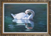 Sleeping Swan in Placid Water Oil Painting Animal Naturalism Ornate Antique Dark Gold Wood Frame 30 x 42 inches