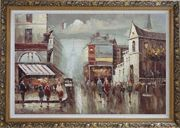 Busy Paris Street Sence Near Eiffel Tower Oil Painting Cityscape France Impressionism Ornate Antique Dark Gold Wood Frame 30 x 42 inches