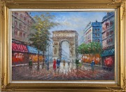 Twilight At Arc De Triomphe of Paris Oil Painting Cityscape France Impressionism Gold Wood Frame with Deco Corners 31 x 43 inches