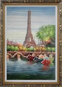 Small Boats, Eiffel Tower And Seine River With Bridge, Paris Oil Painting Cityscape France Impressionism Ornate Antique Dark Gold Wood Frame 42 x 30 inches