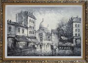 Black and White Paris Street Junction Scene Oil Painting Cityscape Impressionism Ornate Antique Dark Gold Wood Frame 30 x 42 inches