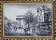 Black White Paris Street to Triumphal Arch Oil Painting Cityscape France Impressionism Exquisite Gold Wood Frame 30 x 42 inches