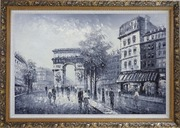 Black White Paris Street to Triumphal Arch Oil Painting Cityscape France Impressionism Ornate Antique Dark Gold Wood Frame 30 x 42 inches
