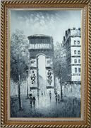 Paris, Champs-Elysees, Arc de Triumph Oil Painting Black White Cityscape Impressionism Exquisite Gold Wood Frame 42 x 30 inches