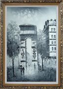 Paris, Champs-Elysees, Arc de Triumph Oil Painting Black White Cityscape Impressionism Ornate Antique Dark Gold Wood Frame 42 x 30 inches