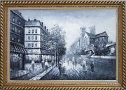 Black and White Paris Street with Notre Dame de Paris Oil Painting Cityscape Impressionism Exquisite Gold Wood Frame 30 x 42 inches