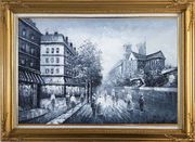 Black and White Paris Street with Notre Dame de Paris Oil Painting Cityscape Impressionism Gold Wood Frame with Deco Corners 31 x 43 inches