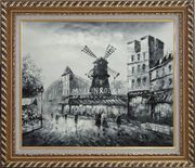 Moulin Rouge in Black and White Oil Painting Cityscape Impressionism Exquisite Gold Wood Frame 26 x 30 inches