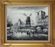 Moulin Rouge in Black and White Oil Painting Cityscape Impressionism Gold Wood Frame with Deco Corners 27 x 31 inches