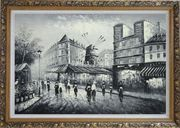 Moulin Rouge in Black and White Oil Painting Cityscape Impressionism Ornate Antique Dark Gold Wood Frame 30 x 42 inches