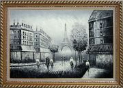 People Crossing Eiffel Tower Oil Painting Black White Cityscape Impressionism Exquisite Gold Wood Frame 30 x 42 inches