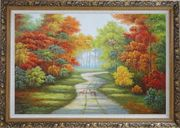 Two Deer on Pathway Of Autumn Forest Oil Painting Landscape Tree Naturalism Ornate Antique Dark Gold Wood Frame 30 x 42 inches