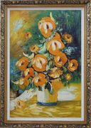 Yellow Roses Still Life Painting Oil Flower Bouquet Impressionism Ornate Antique Dark Gold Wood Frame 42 x 30 inches