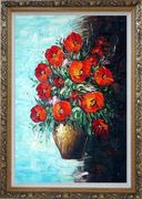 Red Fire Roses in Vase, Light Blue Background Oil Painting Flower Still Life Bouquet Naturalism Ornate Antique Dark Gold Wood Frame 42 x 30 inches