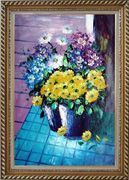 Yellow, Blue, White, Purple Daisy and Chrysanthemum Oil Painting Flower Still Life Bouquet Naturalism Exquisite Gold Wood Frame 42 x 30 inches