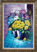 Yellow, Blue, White, Purple Daisy and Chrysanthemum Oil Painting Flower Still Life Bouquet Naturalism Ornate Antique Dark Gold Wood Frame 42 x 30 inches