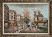 Walk on Street Near Notre-Dame Cathedral in Paris, Warm Color Oil Painting Cityscape France Impressionism Ornate Antique Dark Gold Wood Frame 30 x 42 inches