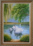 White Swan Family Under Trees On Lake in Spring Oil Painting Animal Naturalism Exquisite Gold Wood Frame 42 x 30 inches