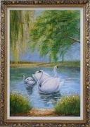 White Swan Family Under Trees On Lake in Spring Oil Painting Animal Naturalism Ornate Antique Dark Gold Wood Frame 42 x 30 inches