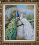 Blue and White Peacocks in Garden Oil Painting Animal Naturalism Ornate Antique Dark Gold Wood Frame 30 x 26 inches