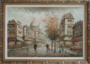 Montmartre Street with View of Basilica of the Sacred Heart of Paris Oil Painting Cityscape France Impressionism Ornate Antique Dark Gold Wood Frame 30 x 42 inches