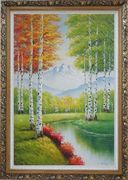 Green And Yellow Trees Along Quiet Stream with Peaked Snow Mountain in View Oil Painting Landscape Autumn Naturalism Ornate Antique Dark Gold Wood Frame 42 x 30 inches