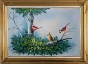 Three Colorful Cardinals Playing on The Tree Oil Painting Animal Bird Naturalism Gold Wood Frame with Deco Corners 31 x 43 inches