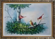 Three Colorful Cardinals Playing on The Tree Oil Painting Animal Bird Naturalism Ornate Antique Dark Gold Wood Frame 30 x 42 inches