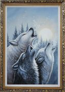 Three Howling Wolves in Snowing Forest with Moonlight Oil Painting Animal Wolf Naturalism Ornate Antique Dark Gold Wood Frame 42 x 30 inches