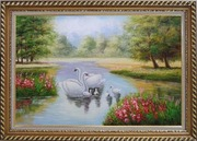 Pair of Adult Swans with Four Cygnets in Colorful Lake Oil Painting Animal Classic Exquisite Gold Wood Frame 30 x 42 inches