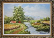 Earth Road and Stream Pass by Cottage With Small Spillway Oil Painting Village Naturalism Ornate Antique Dark Gold Wood Frame 30 x 42 inches