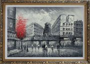 Black White Paris Street and Moulin Rouge with Red Tree Oil Painting Cityscape France Impressionism Ornate Antique Dark Gold Wood Frame 30 x 42 inches