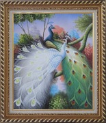 Beautiful Blue and White Peacocks On Tree Oil Painting Animal Naturalism Exquisite Gold Wood Frame 30 x 26 inches