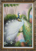 Beautiful Blue and White Peacocks On Tree Oil Painting Animal Naturalism Ornate Antique Dark Gold Wood Frame 42 x 30 inches