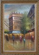 Romantic Parisian Street Scene At Dusk In 19th Century Oil Painting Cityscape France Impressionism Exquisite Gold Wood Frame 42 x 30 inches